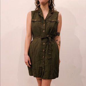 Banana Republic sleeveless olive green dress